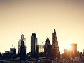 Cityscape of London - The Gherkin (30 St Mary Axe), Lloyds of London, Tower 42, Heron Tower. Toned image.
