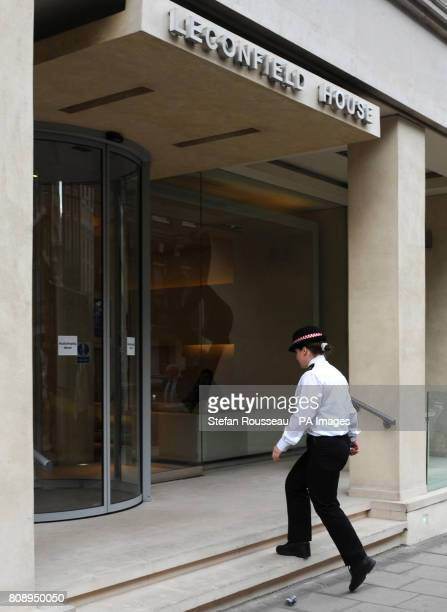 A City of London Police Officer outside Leconfield House Curzon Street in central London