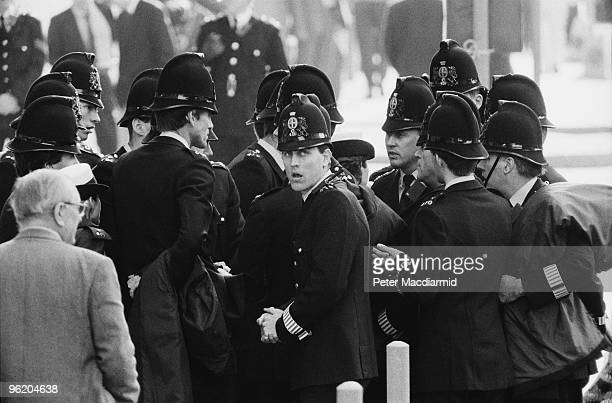 City of London Police outside the Old Bailey London as Gerry Conlon one of the 'Guildford Four' is released after the sentences in the case were...