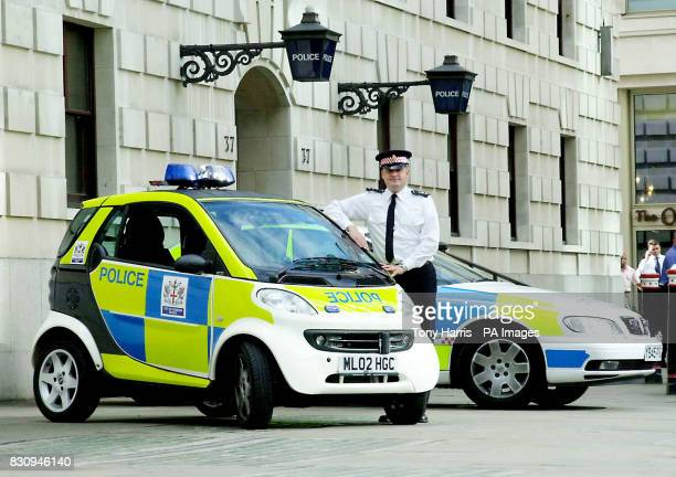 City of London Police take delivery of the UK's first emergency response Smart police car seen outside Wood Street Police Station The car at 25...