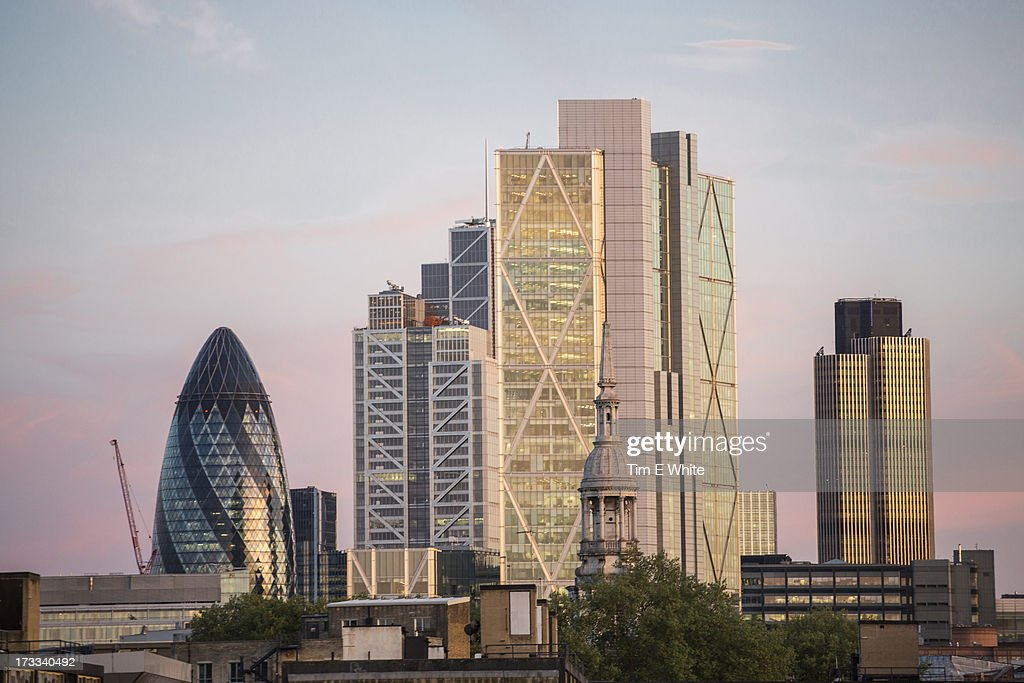 City of London skyline at sunset, London UK : Stock Photo