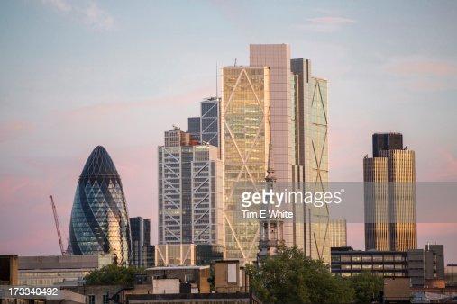 City of London skyline at sunset, London UK : Stock Photo