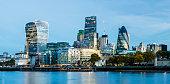 City of London Skyline at Twilight in United Kingdom