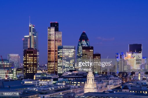 City of London skyscrapers at night
