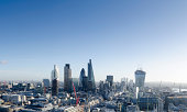 Elevated view of The City of London, the capital's global business and finance district which employs hundreds of thousands of people. The City's skyline is constantly evolving, to the right of the di