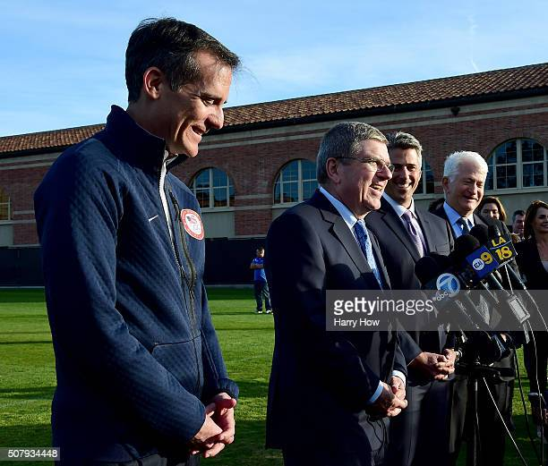 City of Los Angeles Mayor Eric Garcetti IOC President Thomas Bach LA 2024 Chairman Casey Wasserman and University of California Los Angeles...
