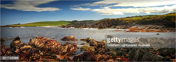 City of Melbourne Bay, named after a shipwreck, is a beautiful small cove on the Eastern coastline of King Island, Bass Strait, Tasmania.