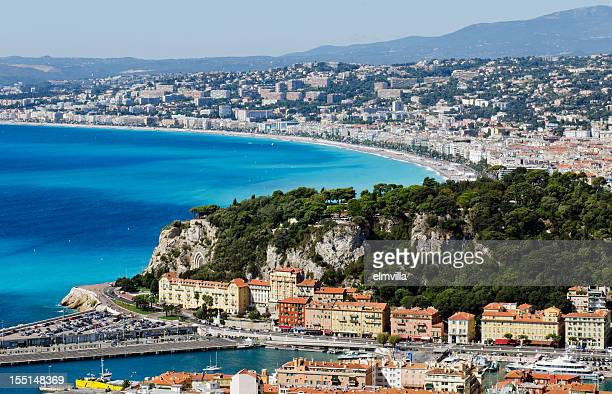 City of Nice overlooking bay under blue sky