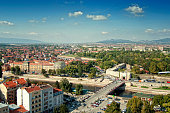 Cityscape, panoramic view of a city of Nis in Serbia.