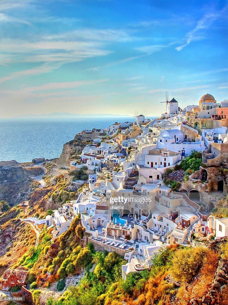 City of Oia at Santorini , Greece