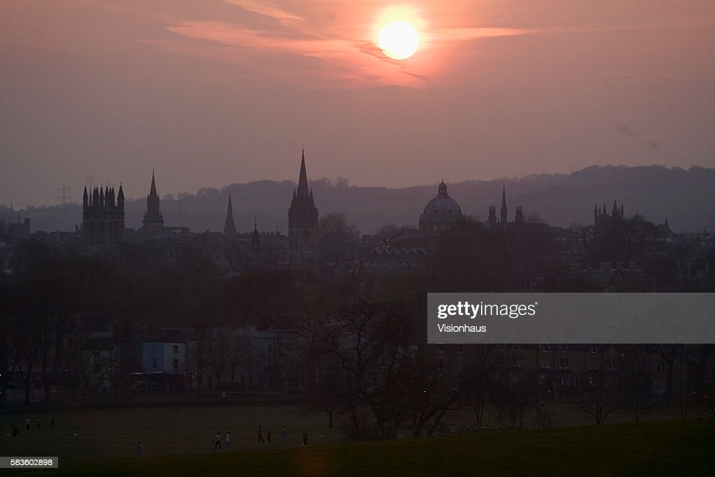City of Oxford at sunset with Boars Hill in the distance Affectionately named 'the city of dreaming spires' by nineteenth century English poet...