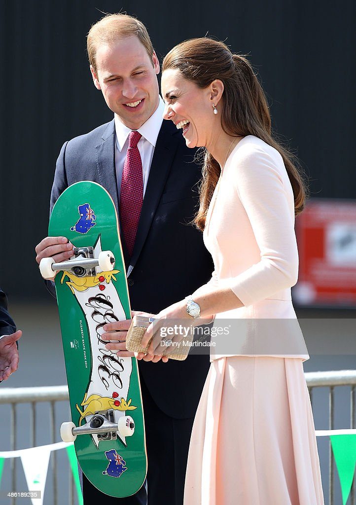 City of Playford Mayor, Mr Glenn Docherty, presents a skateboard with 'George' to <a gi-track='captionPersonalityLinkClicked' href=/galleries/search?phrase=Prince+William&family=editorial&specificpeople=178205 ng-click='$event.stopPropagation()'>Prince William</a>, Duke of Cambridge and <a gi-track='captionPersonalityLinkClicked' href=/galleries/search?phrase=Catherine+-+Duchess+of+Cambridge&family=editorial&specificpeople=542588 ng-click='$event.stopPropagation()'>Catherine</a>, Duchess of Cambridge at a skate park in Elizabeth, on April 23, 2014 in Adelaide, Australia. The Duke and Duchess of Cambridge are on a three-week tour of Australia and New Zealand, the first official trip overseas with their son, Prince George of Cambridge.