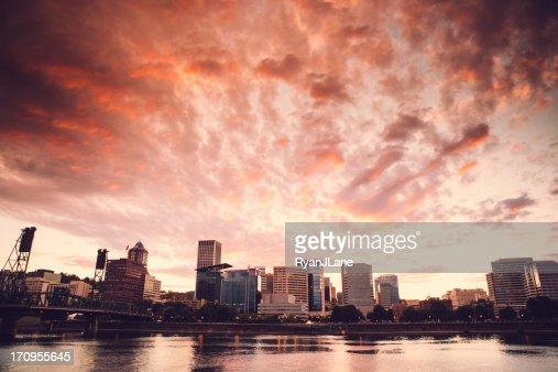 Città di Portland al crepuscolo