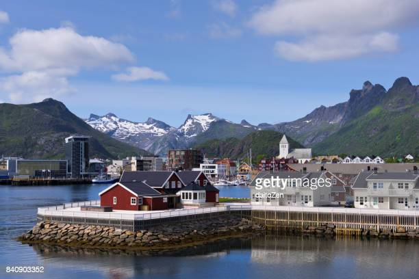 City of Svolvaer with harbour area and mountain range in the background, Austvagøya, Lofoten archipelago, Nordland, Norway