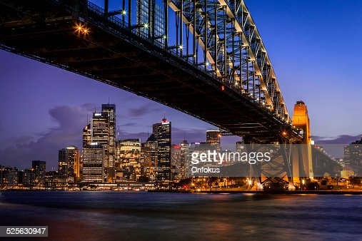 City of Sydney Cityscape and Harbour Bridge at Dusk