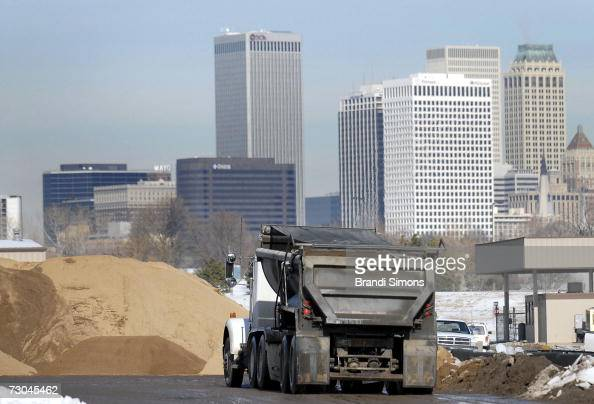 City of Tulsa sand truck picks up a load of sand to put down on icy roads as the area prepares to be hit with another winter storm on January 19 2007...