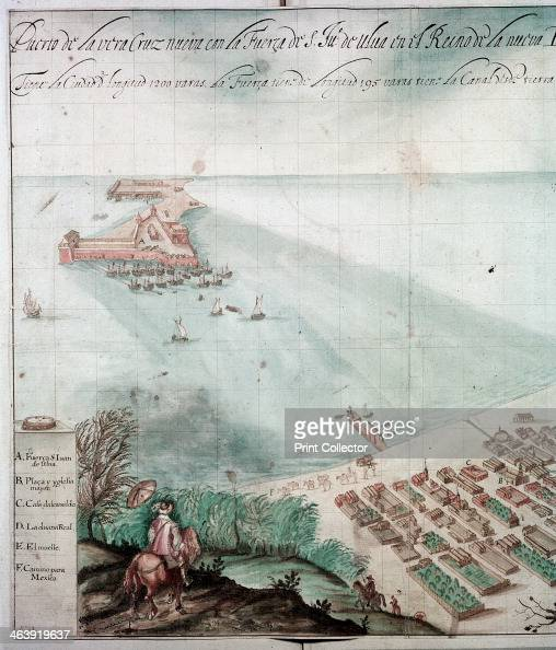 City of Veracruz Mexico 17th century Detail from a map of the city which lies on the Caribbean on the east coast of Mexico It was first founded by...