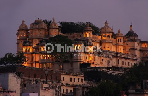 City Palace complex at night, Udaipur, Rajasthan, India : Stock Photo