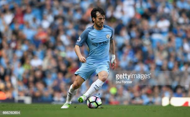 City player David Silva in action during the Premier League match between Manchester City and Hull City at Etihad Stadium on April 8 2017 in...