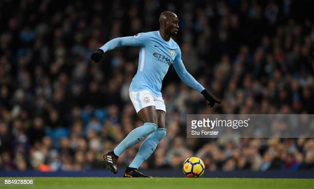 City player Eliaquim Mangala in action during the Premier League match between Manchester City and West Ham United at Etihad Stadium on December 3...