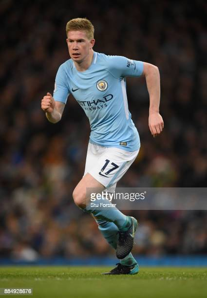 City player Kevin de Bruyne in action during the Premier League match between Manchester City and West Ham United at Etihad Stadium on December 3...