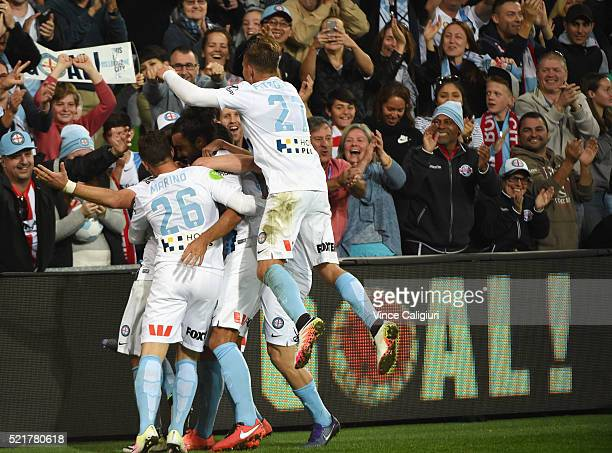 City players jump on Bruno Fornaroli of Melbourne City and celebrate after he scored his second goal during the ALeague Elimination Final match...