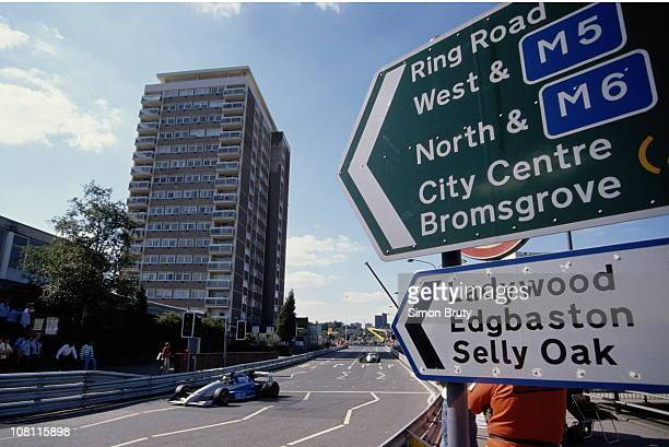 City road signs point the direction during the FIA International F3000 Championship Halfords Birmingham Superprix race on 27th August 1990 on the...