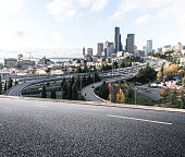 city road with cityscape and skyline of seattle
