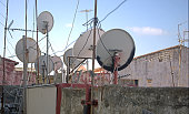 City Roof Tops with satellite dishes in Gibratar