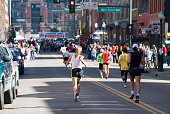 Finish line of a running race in downtown Denver Colorado