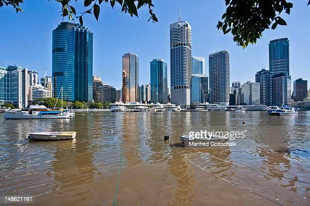 City skyline across Brisbane River.