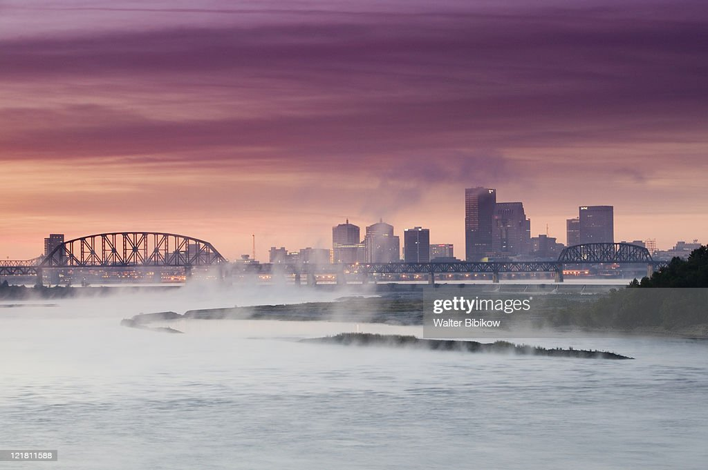 City skyline along Ohio River and morning fog