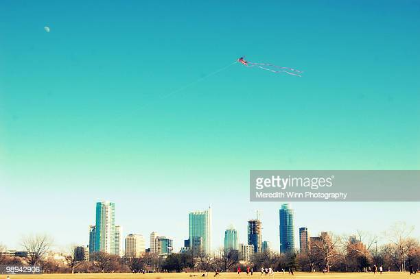 City skyline and a flying kite
