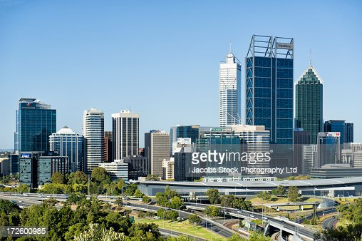 City skyline and freeways, Perth, Western Australia, Australia : Stock Photo
