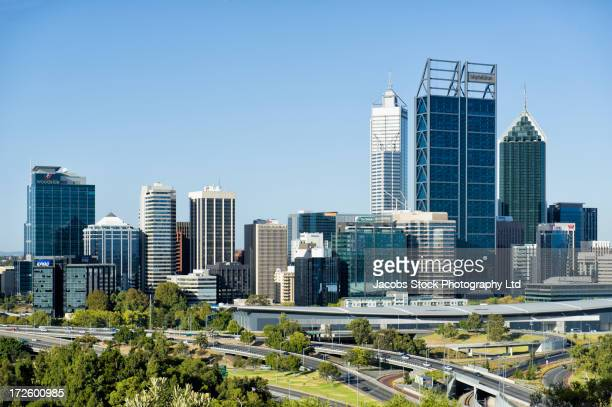 City skyline and freeways, Perth, Western Australia, Australia