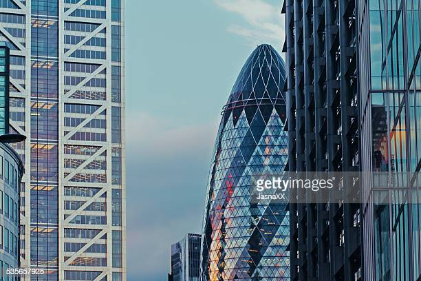 City skyline and Gherkin building, London, England, UK