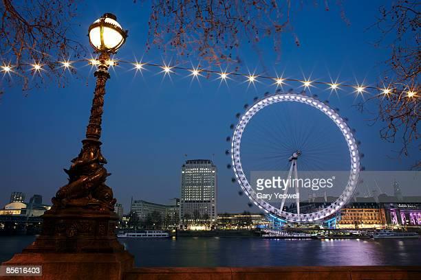 City skyline and Millennium Wheel at dusk