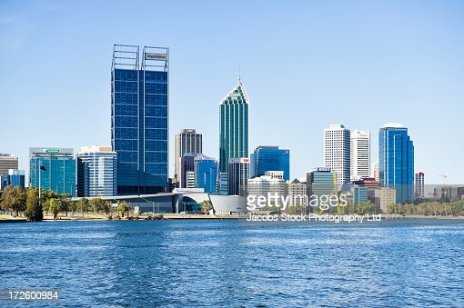 City skyline and waterfront, Perth, Western Australia, Australia : Stock Photo