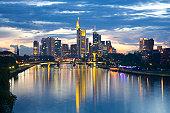City skyline at dusk, Frankfurt am Main, Germany