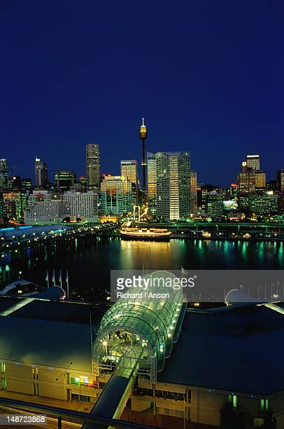 City skyline at night from Darling Harbour - Sydney, New South Wales