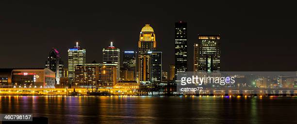 City Skyline at Night, Louisville, KY, with Ohio RIver