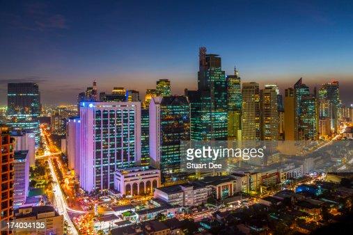 City skyline at night, Makati, Manila, Philippines