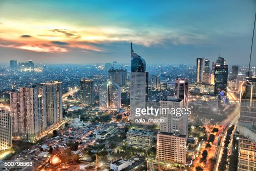 Indonesia, Jakarta, View of city during sunset