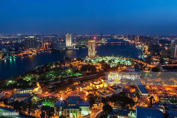 skyline della città-Cairo al crepuscolo