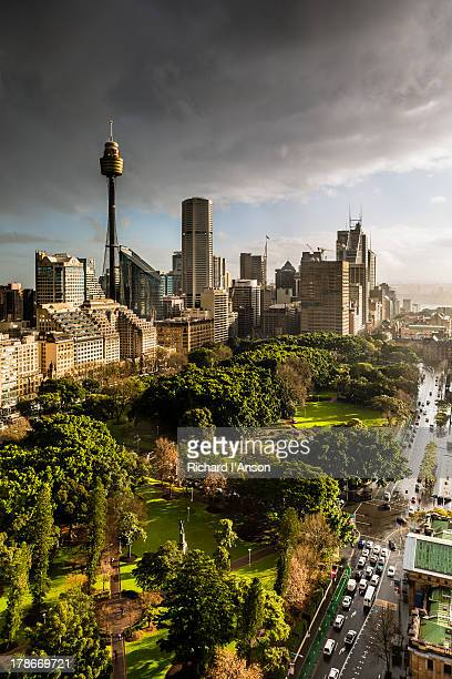 City skyline & Hyde Park during rainstorm