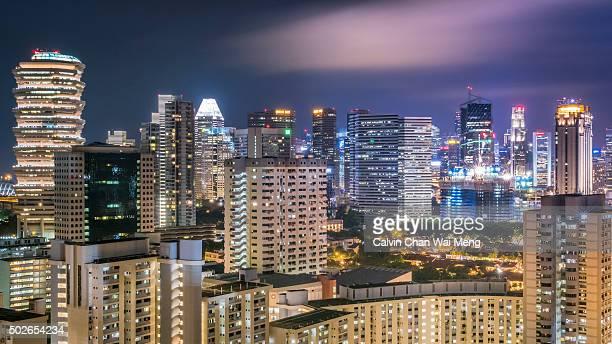 City skyline in Singapore at night