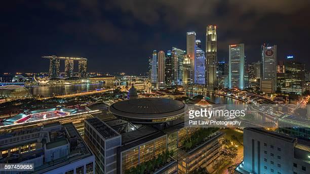 City skyline lit up Singapore