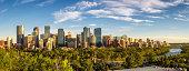 City skyline of Calgary with Bow River, Alberta, Canada