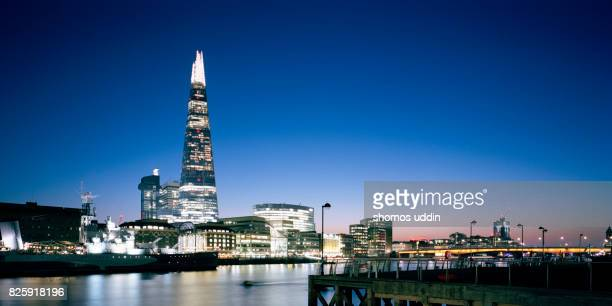 City skyline of London across River Thames against clear sky