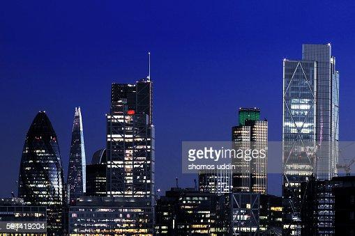 City skyline of London at night